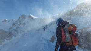 Schneesturm in den Bergen